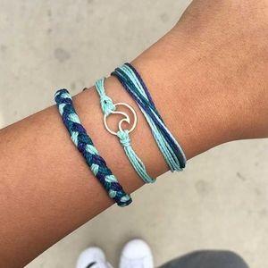 Boho Ocean Wave Blue Rope Lace-up Bracelet 3Pc Set